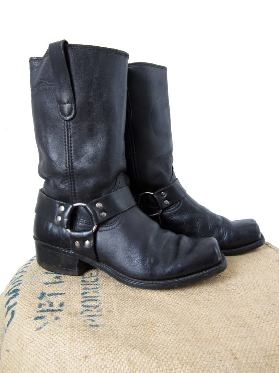 Vintage 70s Sears Black Harness Boots Leather Biker Boot - Mens 9 D. $95.00, via Etsy.
