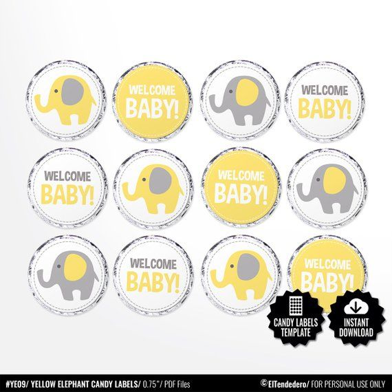 24 x 40mm Personalised Stickers Round Baby Shower Yellow Gender Neutral Labels