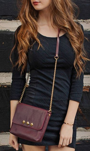 SALE / Leather Studded Bag / Leather CrossBody Love the dress