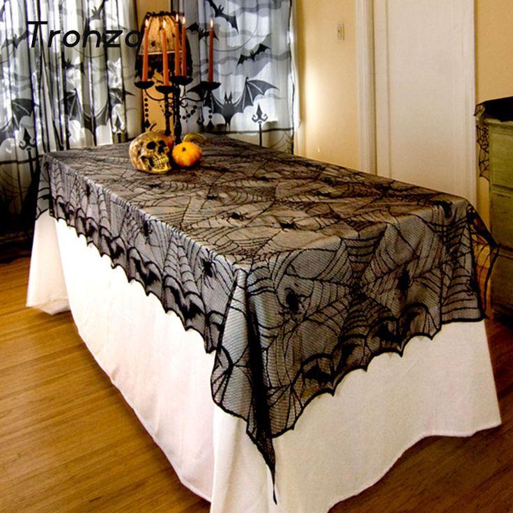 Tronzo 244*122 CM Dentelle Noir Toile D'araignée Halloween Décoration Pour La Maison Halloween Party Décoration Rectangle Nappe Toile D'araignée