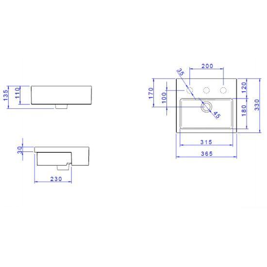 Cubas Semi-Encaixe : Cuba Deca Semi-Encaixe 365X330MM Com Deck L.733.17