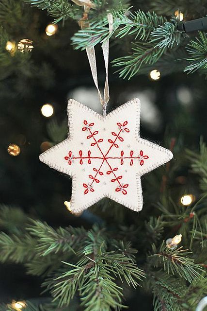 White star with red embroidery   Repinned by RainyDayEmbrdry www.etsy.com/shop/RainyDayEmbroidery
