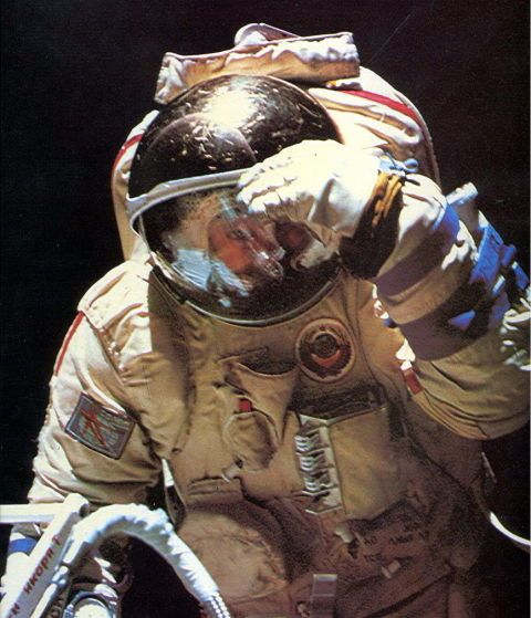 Jean-Loup Chrétien, a French astronaut aboard the Soviet Soyuz TM-7 mission, made a near-six hour EVA to deploy some structures on board the Mir space station.