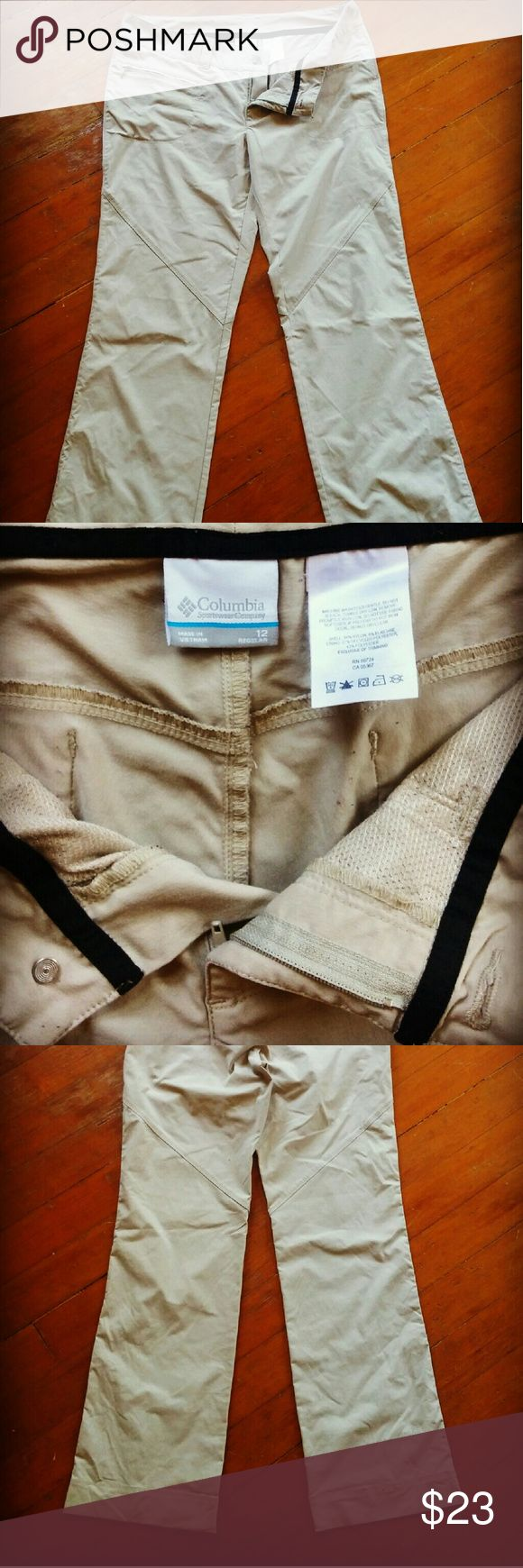 Columbia waterproof Khaki hiking pants Waterproof hiking pants by Columbia. They are phenomenal for hiking or any outdoor activity with water. Boot cut. Khaki color. Zippers on front pockets. Columbia Pants Boot Cut & Flare