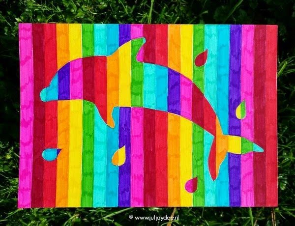 Juf Jaydee: Regenboogdieren | This is cool. Any shape/animal/whatever could be used instead of the dolphin!