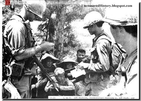 Soldiers interrogating the villagers.