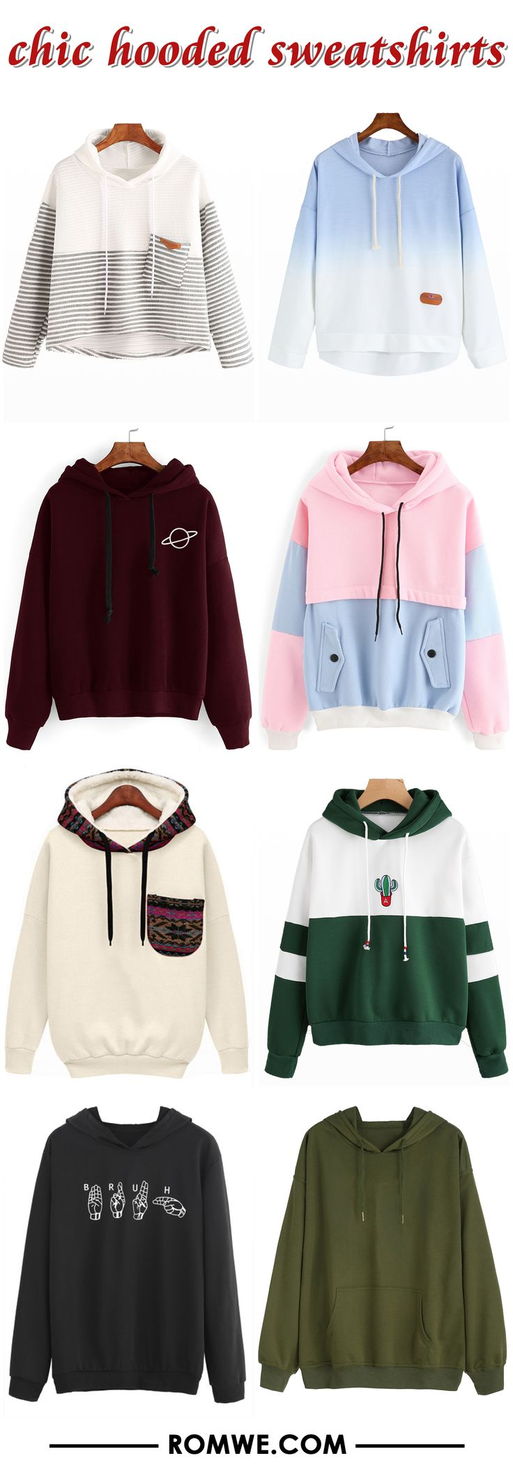 hooded sweatshirts 2017 - romwe.com