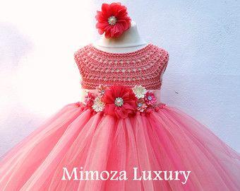 Coral melocotón flor chica coral tutu vestido por MimozaLuxury