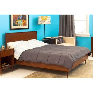 Urbangreen Furniture Midcentury Panel Bed - Wood Veneer: Walnut, Finish: Toffee, Size: Queen