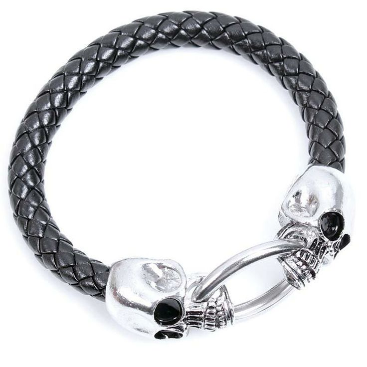 Cool Wholesale Braided Leather Punk Skull Head Bracelet ...