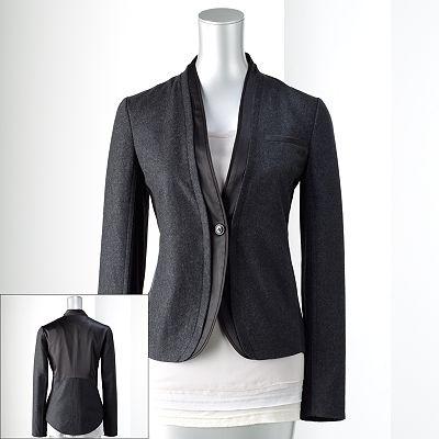 Simply Vera Vera Wang Mixed-Media Wool Jacket - Petite