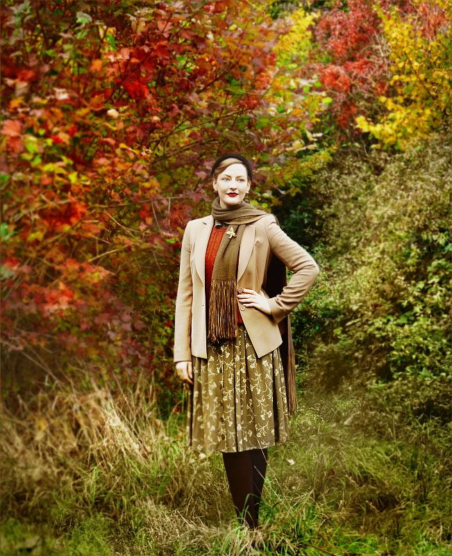 Lilly Jarlsson 1940s 1950s Autumn Style Vintagestyle Redlips Fall Retro Indiansummer