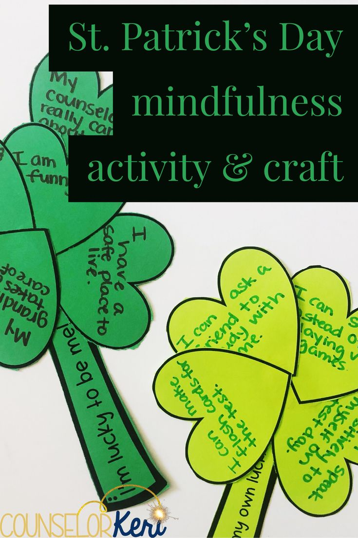 St. Patrick's Day mindfulness activity: 2 scripts to explore luck, why were lucky, and how to create our own luck. These activities are perfect for classroom guidance lessons or small group counseling, and the crafts makes great bulletin board displays! #schoolcounseling #mindfulness #stpartricksday #stpartricksdaycraft #counselorkeri