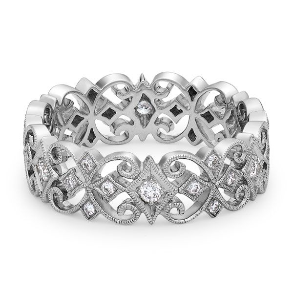 Stunning filigree style ring in 18-carat white gold and diamond by Ungar and Ungar. www.kellerwood.com