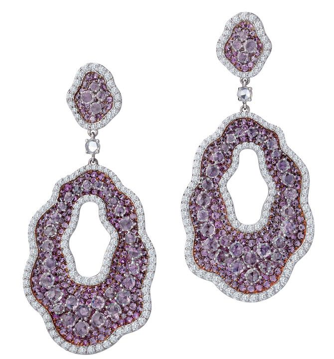 Earrings in white and rose gold with pink sapphires, price on request; Bapalal Keshavlal