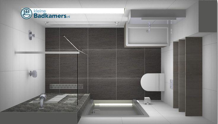Deze kleine badkamer is voorzien van een inloopdouche met EasyDrain, Baderie wandcloset en Detremmerie badkamermeubel met spiegelkast.