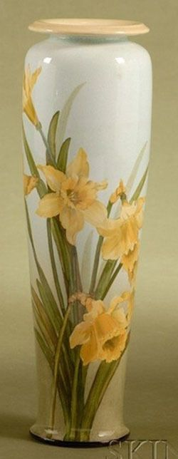 Doulton; Lambeth, Vase, Faience, Daffodils, Blue ground, 13 inch.
