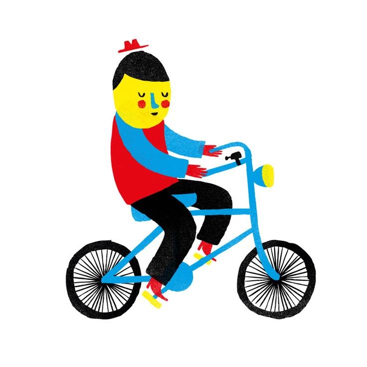 Happy bike illustration by Ben Javens #BenJavens #bicycle #illustration