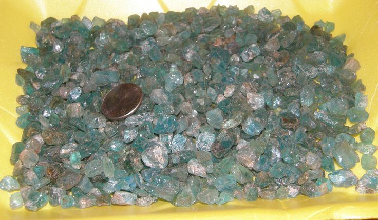 Neon Blue Apatite Faceting Rough nuggets shown dry