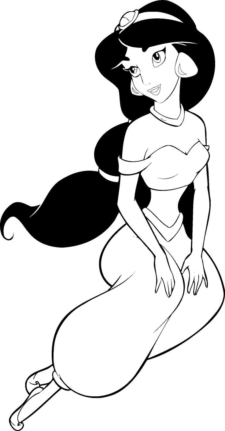 Free coloring pages princess - Printable Coloring Pages Disney Aladdin Princess Jasmine Cartoon Printable Coloring Book Pages