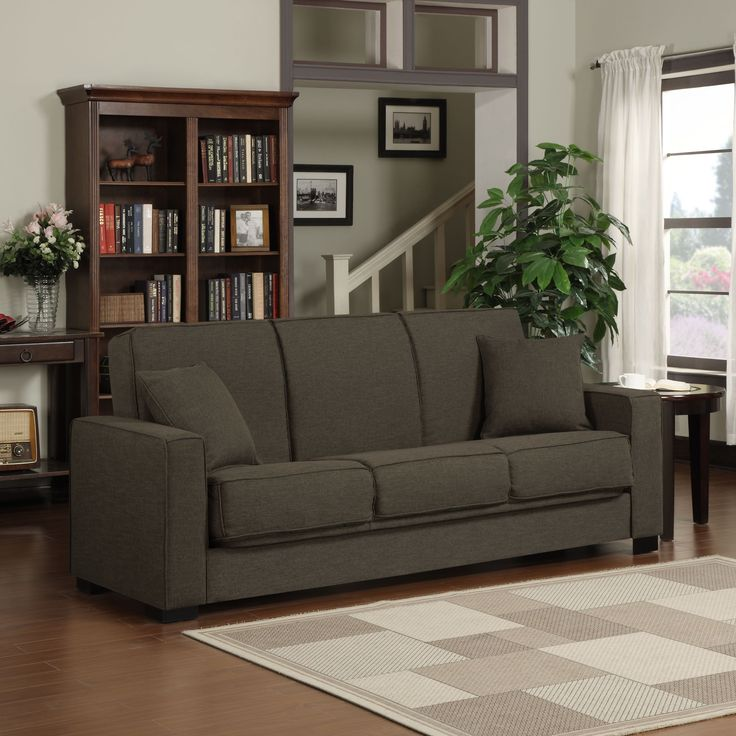Be prepared for unexpected guests with this handsome futon sofa sleeper. Combining the convenience of a futon with the beauty of a traditional sofa, this piece is the perfect addition to your den or family room. The linen fabric adds extra comfort.