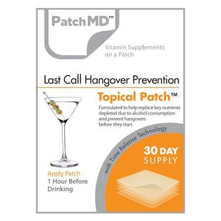 The Last Call Hangover Prevention Topical Patch by PatchMD delivers key nutritional supplements that naturally help your body process alcohol and prevent hangovers. It addresses a host of physical iss