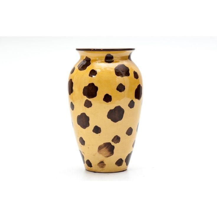 Vaso maculato produzione Italia anni 50 colori giallo e marrone in ceramica