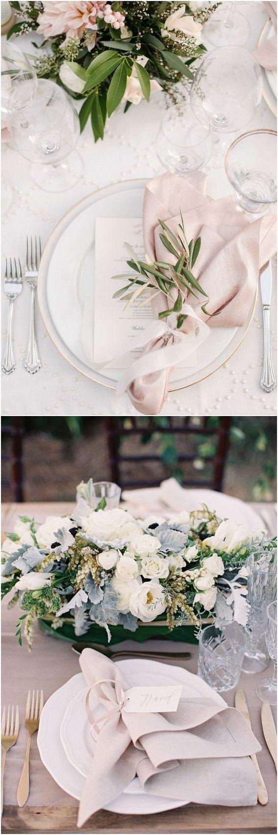 Greenery Wedding Place Setting Ideas / http://www.deerpearlflowers.com/greenery-wedding-place-setting-ideas/