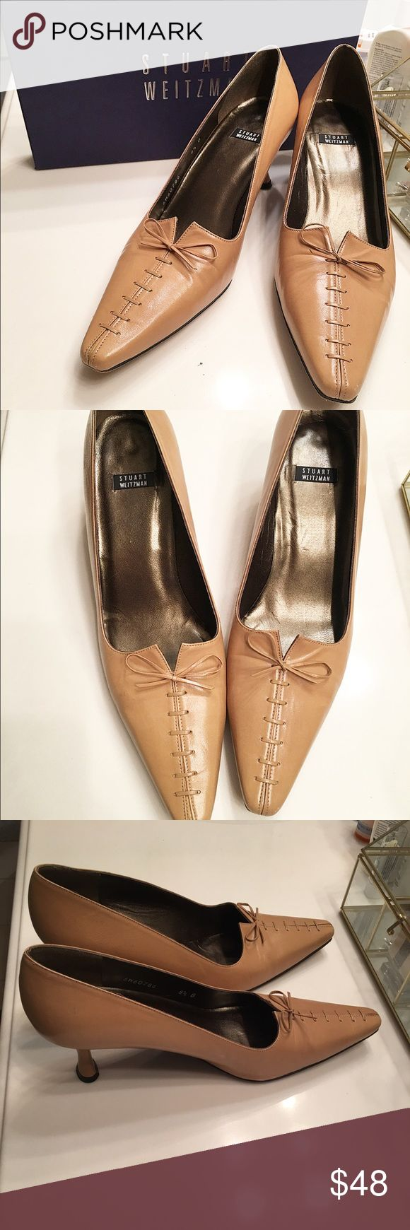 Stuart Weitzman Camel Pump Tirade style, leather material and sole, Lace up and bow detail, small signs of wear on bottom, great condition Stuart Weitzman Shoes Heels
