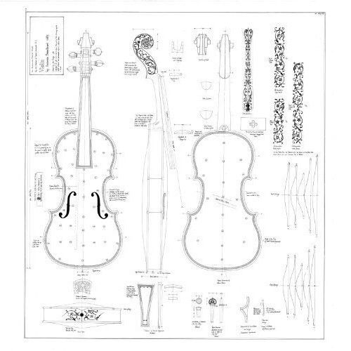 17+Violin+(inlaid)+by+Antonio+Stradivari+-+Detailed+working+drawing+of+Violin+in+the+Hill+Collection.+The+Hill+Drawings+are+a+made+to+order+product+and+take+about+2-3+weeks+to+produce+and+post.