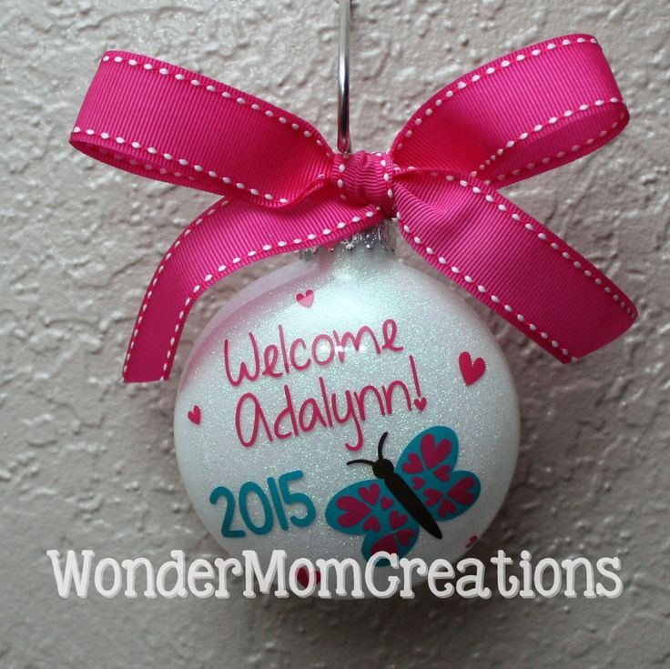 Welcome Baby Ornament; Baby Girl Ornament; Little Girl Ornament; Girl Christmas Ornament; Baby Girl's First Christmas Ornament; Baby's First by WonderMomCreations on Etsy https://www.etsy.com/listing/237534436/welcome-baby-ornament-baby-girl-ornament