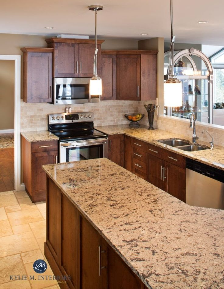 Outdated Pink Maple Kitchen Renovation With New Maple Cabinets, Cambria  Quartz, Travertine Tile Floor
