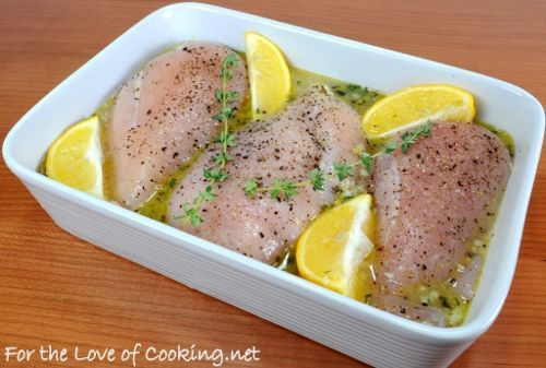 1-2 tbsp olive oil, 5-6 cloves of garlic, minced, 1/3 cup of chicken broth, Zest from 1 lemon, Juice from 1 lemon, 1/2 tsp dried oregano, 1/2 tsp fresh thyme leaves, 3 boneless, skinless chicken breasts, Sea salt and freshly cracked pepper to taste, Two sprigs of fresh thyme, 1 lemon cut into 4 wedges