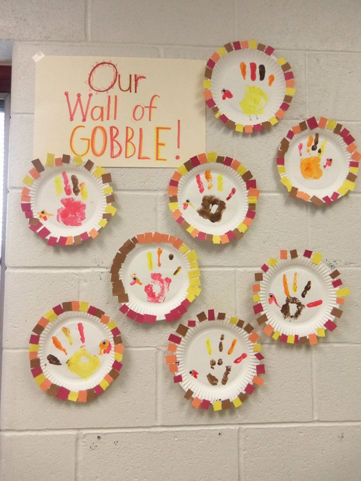 "This was a fun activity I created for thanksgiving... We used paper plates and I provided the kids with a ""key"" that they had to follow in order to make the pattern around the plate. ex. 8 orange, 6 yellow etc.  Then to add the sensory component, the turkey is made from finger paint!!! They were so excited to bring it home!  **PLUS picking out the little pieces of paper (because I mixed them all up) worked on not only fine motor but also vision and scanning!"