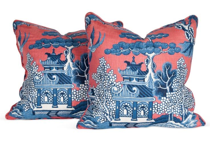 One Kings Lane - Hillary Thomas Designs - Coral & Blue Throw Pillows, Pair I