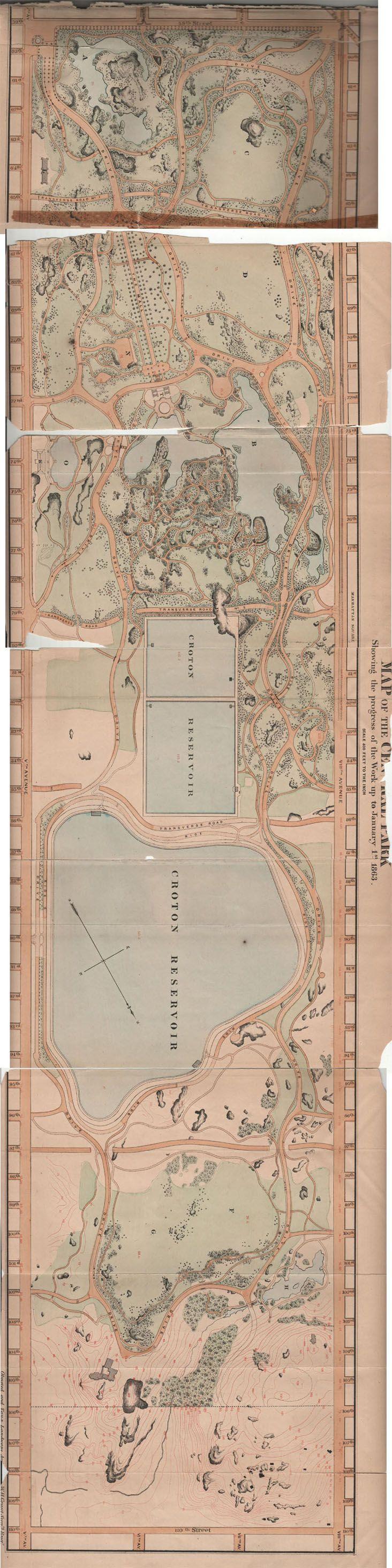 Central Park Map 1863 179 best Map