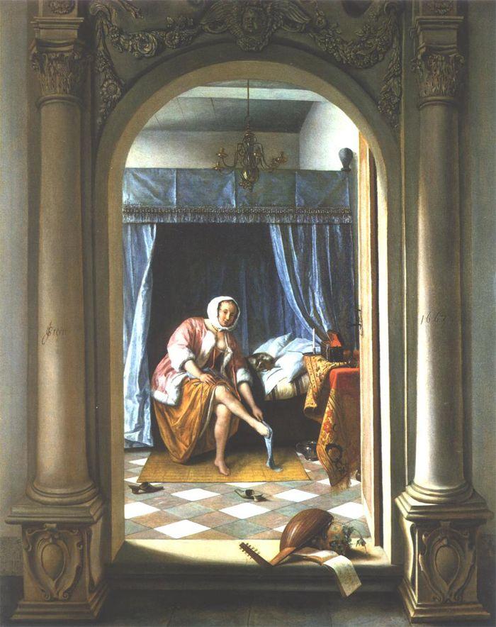 'Het ochtendtoilet' Geschilderd door Jan Steen. Het schilderij is geschilderd in het jaar 1663 in Leiden. Het schilderij zit vol betekenissen. Jan Steen heeft in zijn schilderij gewerkt met diepte, overlapping en een doorkijkje. Het meubilair dat op het schilderij te zien is is typisch van de Barok door de krullen en feestelijkheid.