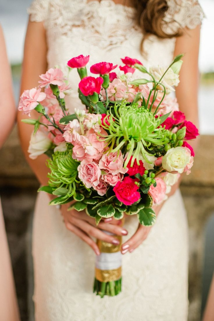 A lovely pink and green bouquet... love the shape of it!