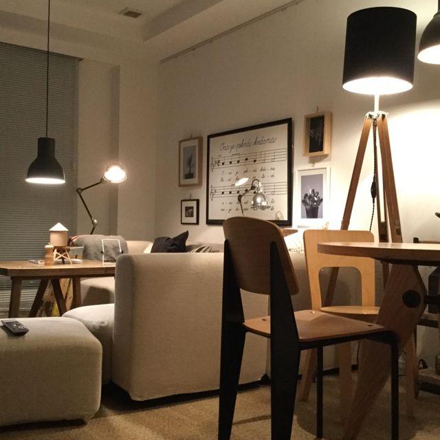 piyohopさんの、部屋全体,ソファー,無印良品,照明,ポスター,額,IKEA,アンティーク,ソファ,プルーヴェ,Prouve,ライティング,ジェルデ,のお部屋写真