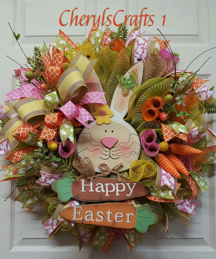 Easter Wreath,Happy Easter Bunny Rabbit Wreath,Carrot Wreath,Welcome Wreath,Spring Wreath,Easter Door/Wall Decor by CherylsCrafts1 on Etsy
