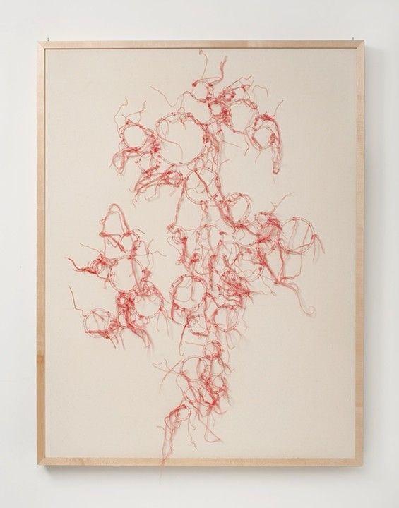 (c) 2004-2014 Leigh Suggs Syncytium (Side 1) 2008 wool & cotton thread 34 x 44