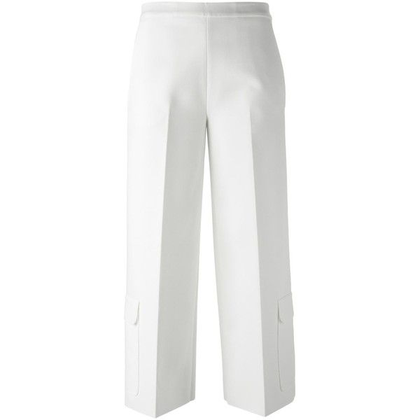 MSGM Patch Pocket Cropped Trousers ($307) ❤ liked on Polyvore featuring pants, capris, white, cotton trousers, white cotton pants, cropped trousers, crop pants and cotton crop pants