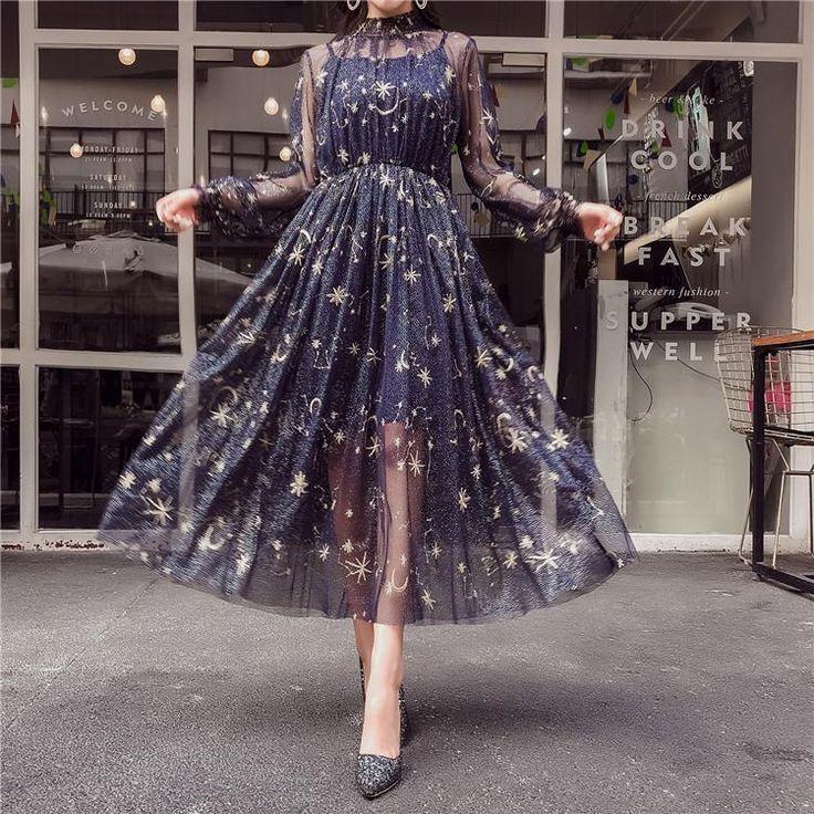 Navy / Beige Starry geschichtetes Tüll Langes Kleid SP1812090
