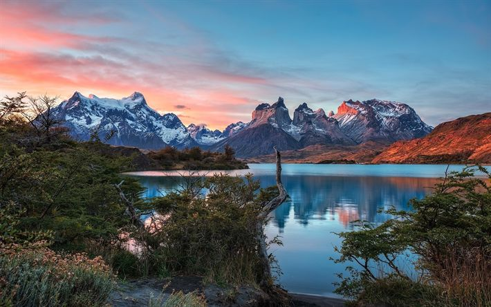Download wallpapers Torres del Paine, sunset, mountains, lake, Patagonia, Chile