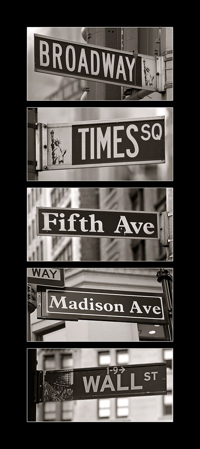 New York Street Signs  Must go to: Financial District   Little Italy  Chinatown  Central Park  Times Square  The Jewish Museum  The Holiday Shops at Bryant Park