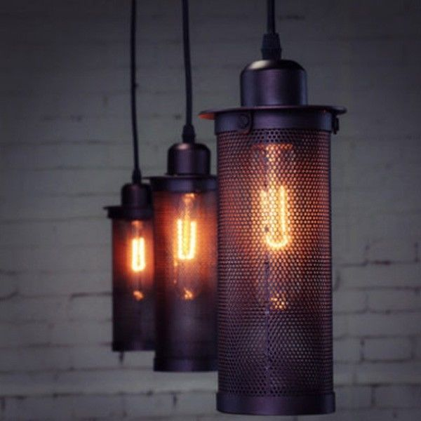 Vintage Industrial Droplight Lamp Ceiling Pendant Black Fixture Tube Mesh Light #Unbranded #Classic
