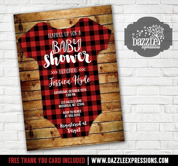 Printable Plaid Flannel Onesie Baby Shower Invitation