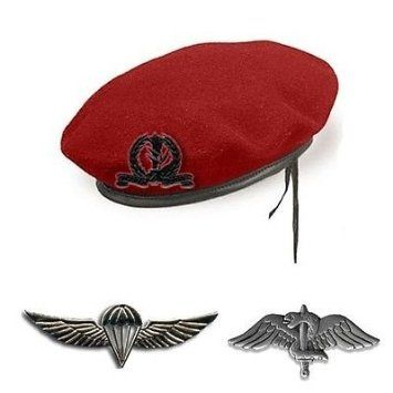 Military Set of IDF Paratroopers Brigade: Red Beret, Jump Wings, Cap Insignia and Pin Warrior, Israeli Army Hat Infantry Cap Soldier Uniform