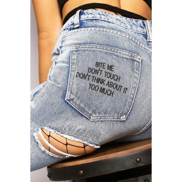 Blue Ripped Bite Me Embroidered Slogan Mom Jeans ($44) ❤ liked on Polyvore featuring jeans, ripped jeans, high rise jeans, embroidery jeans, high waisted distressed jeans and distressing jeans