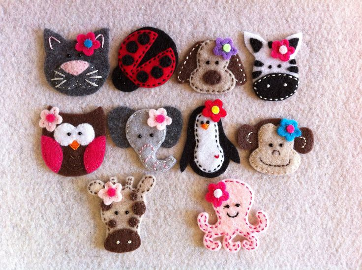 Felt animals kids animals embroidery cat ladybug dog cow owl elephant penguin monkey giraffe octopus
